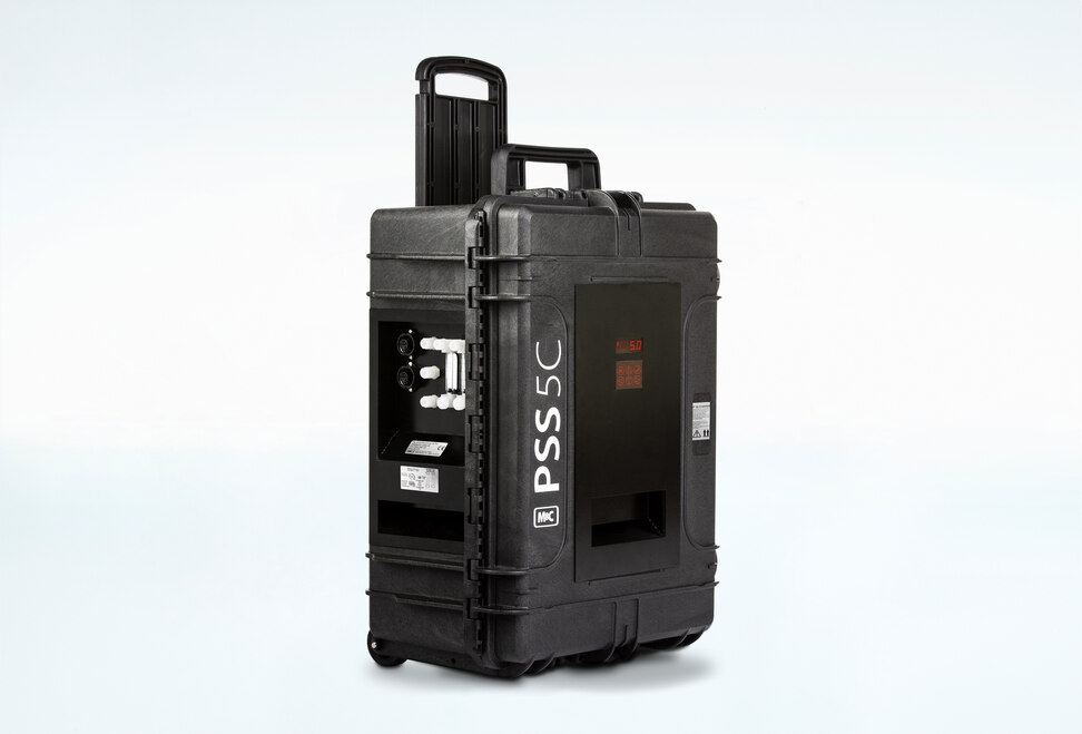 Oblique view of Portable Gas Conditioning System PSS5C inside an impact-resistant case