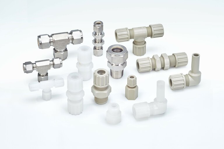 Group overview of different Connectors and Fittings